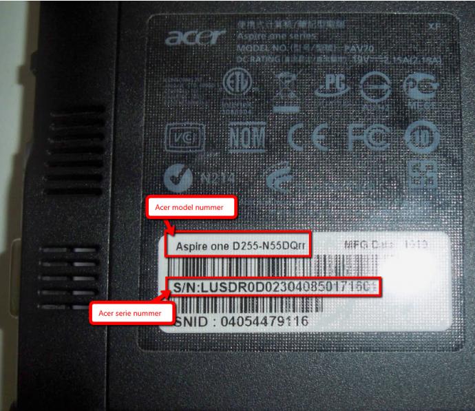 Acer-model-og-serie-nummer